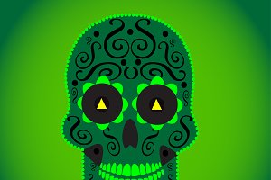 Skull vector background green color