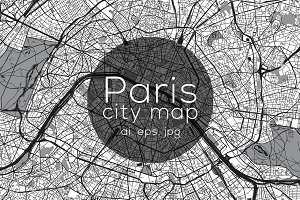 Paris city map - Mono