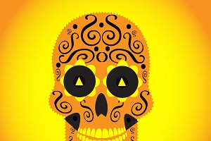 Skull vector background yellow color