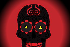 Skull vector background red color