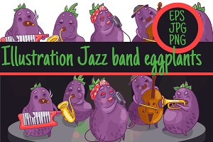 1 illustration jazz band Eggplant