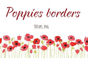 Poppies borders, watercolour
