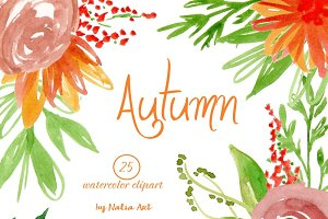Autumn flowers clip art