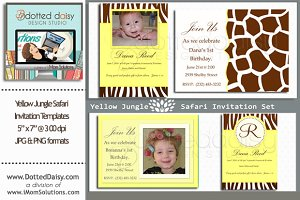 Yellow Jungle Invitation Templates