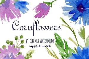 cornflowers watercolor clip art