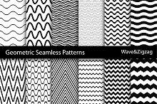 Wave&Zigzag seamless patterns. B&W.
