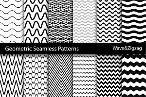 Wave&Zigzag seamless patterns. B&W.