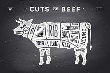 Cut of meat set, chalkboard. Beef