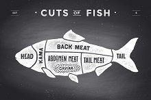 Cut of meat set, chalkboard. Fish