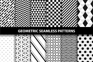 Geometric seamless patterns. B&W.