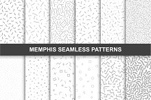 Memphis seamless patterns. Swatches.