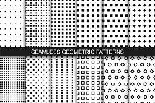 Seamless geometric patterns. B&W.