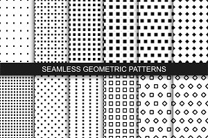 Seamless geometric patterns. B&W.