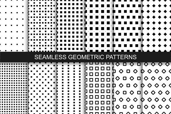 Seamless geometric patterns. B&W. - Patterns