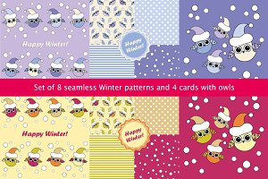 8 seamless pattern and 4 cards