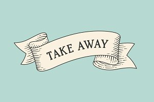 Take away. Vintage old ribbon