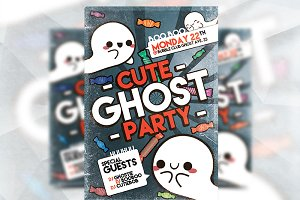 Cute Ghost Party - Flyer Template