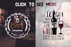 Beer & Wine Vintage badges