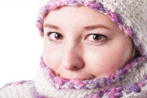 Close up winter woman's face
