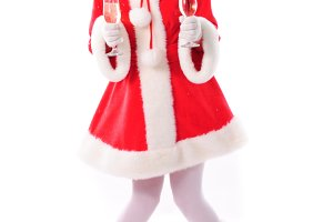 cheerful santa girl