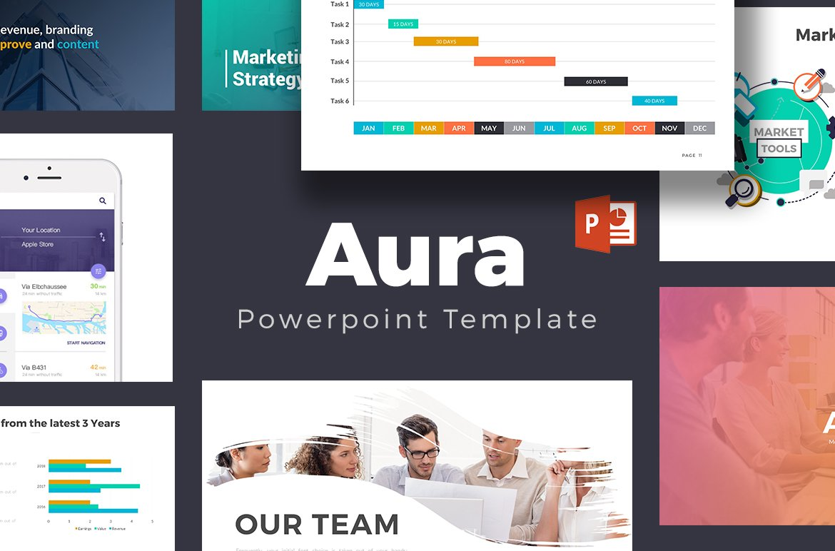 Aura Powerpoint Template ~ Presentation Templates ~ Creative Market
