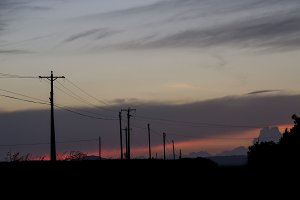 A group of power grid poles. Sunset