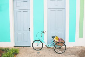 Blue Vintage Bicycle With Flowers