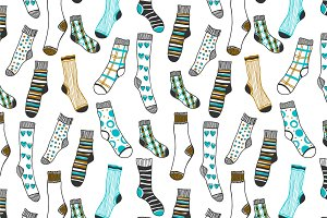 Seamless pattern of doddle socks