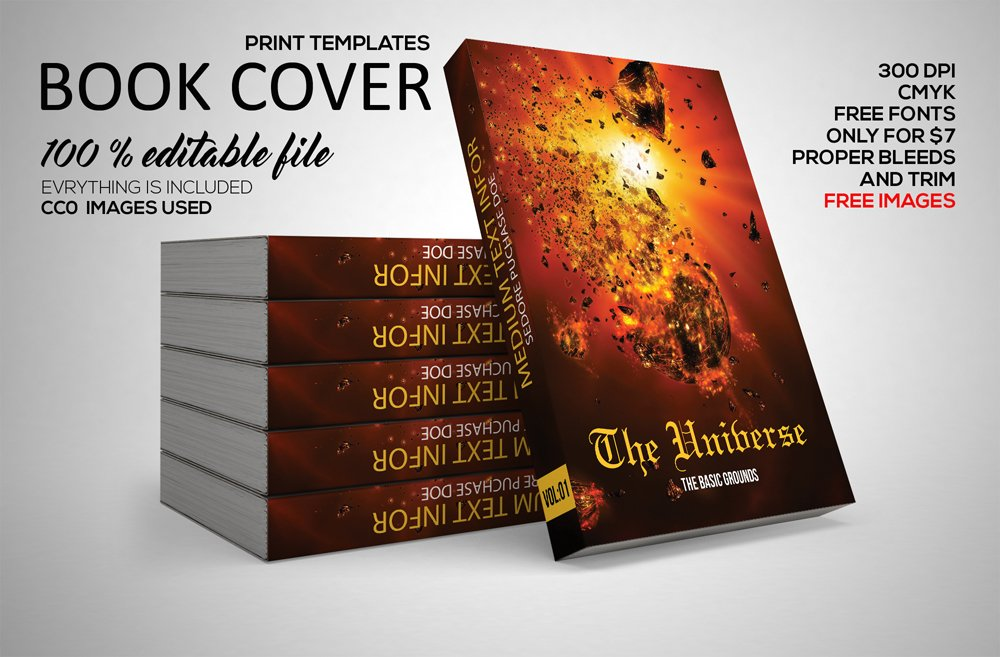 Book Cover Design Gimp : Universe book cover print template stationery templates