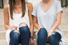 Two Young Girls Wearing Fall Shoes