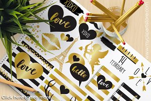 Valentine's Day Black & Gold Clipart