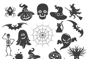 Halloween black icons