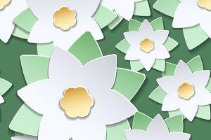 Paper cut flowers japanese pattern