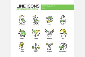 Astroloical Signs - Line Icons Set
