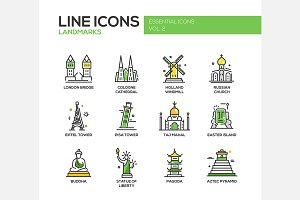 World Landmarks - Line Icons Set
