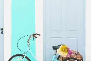 Blue Vintage Bicycle With Flowers 2