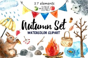 Watercolor autumn clipart.
