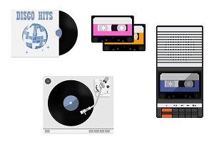 Cassette, vinyl, tape recorder