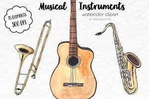 Watercolor Clip Art - Music
