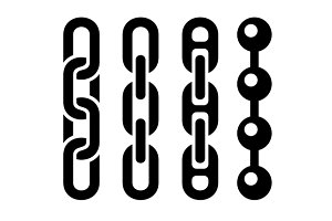 Metal chain parts icons set