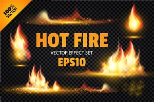 Vector Fire Effect Elements. Eps,Ai.