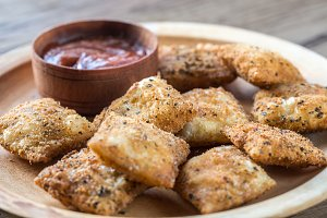 Plate with fried ravioli
