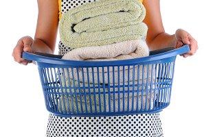 Housewife Holding a Laundry Basket o