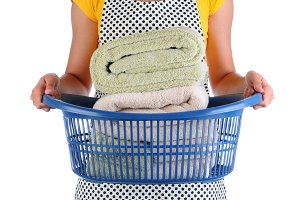Maid With Basket of Towels