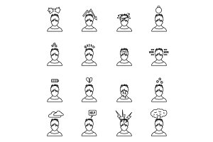 Stress icons set in thin line style