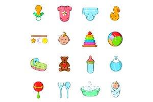 Baby icons set, cartoon style