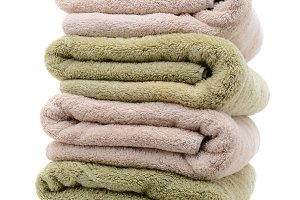 A Stack of Bath Towels Neatly Folded
