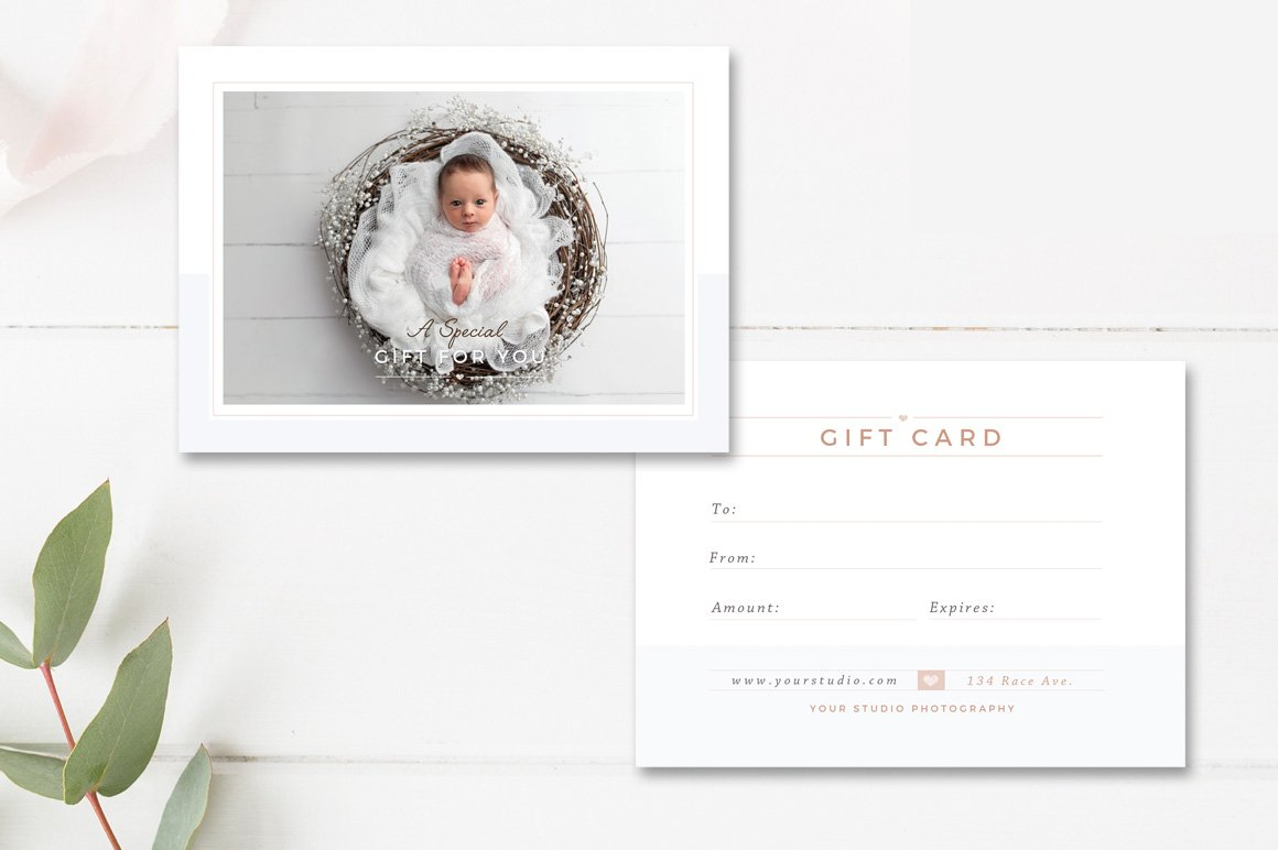 Newborn Photographer Gift Card Card Templates Creative Market