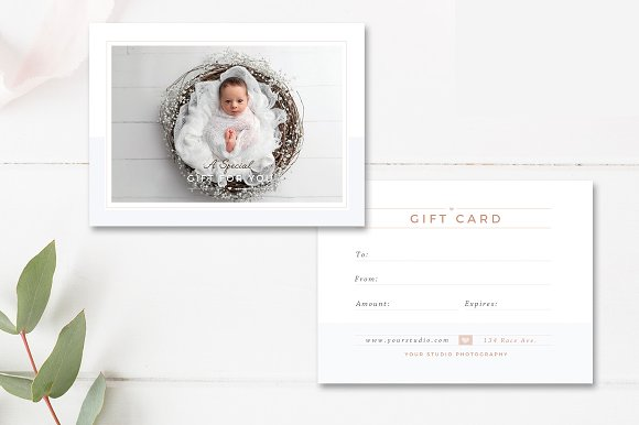 Newborn Photographer Gift Card ~ Card Templates ~ Creative Market