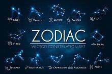 Zodiac Constellations Vector Set.